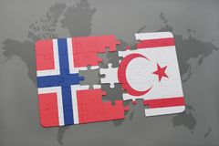 Puzzle with the national flag of norway and northern cyprus on a world map. Background. 3D illustration Royalty Free Stock Photo