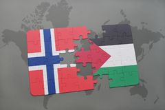 Puzzle with the national flag of norway and palestine on a world map. Background. 3D illustration Royalty Free Stock Photos