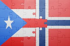 Puzzle with the national flag of norway and puerto rico Royalty Free Stock Photography