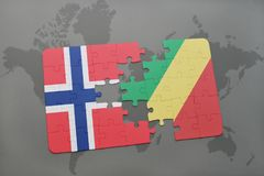 Puzzle with the national flag of norway and republic of the congo on a world map. Background. 3D illustration Stock Photo