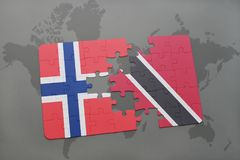 Puzzle with the national flag of norway and trinidad and tobago on a world map. Background. 3D illustration Stock Photos