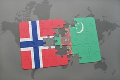 Puzzle with the national flag of norway and turkmenistan on a world map. Background. 3D illustration Stock Photo