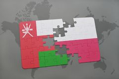 Puzzle with the national flag of oman and poland on a world map background. 3D illustration stock images