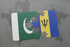 puzzle with the national flag of pakistan and barbados on a world map background. Stock Images