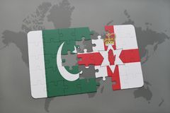 Puzzle with the national flag of pakistan and northern ireland on a world map background. 3D illustration Stock Images
