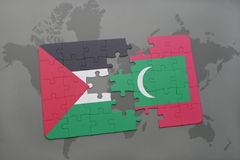 Puzzle with the national flag of palestine and maldives on a world map background. Stock Photos