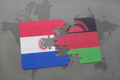 Puzzle with the national flag of paraguay and malawi on a world map. Background. 3D illustration Stock Photos