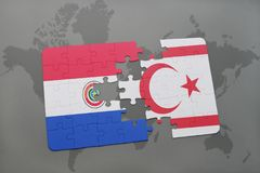 Puzzle with the national flag of paraguay and northern cyprus on a world map Stock Photography