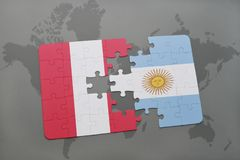 Puzzle with the national flag of peru and argentina on a world map background. Royalty Free Stock Image