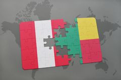 Puzzle with the national flag of peru and benin on a world map. Background. 3D illustration stock photo