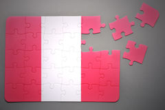 Puzzle with the national flag of peru Royalty Free Stock Photos