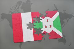 Puzzle with the national flag of peru and burundi on a world map. Background. 3D illustration royalty free stock images