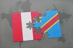 Puzzle with the national flag of peru and democratic republic of the congo on a world map Royalty Free Stock Images