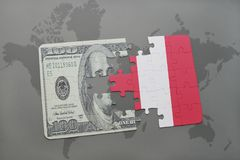 Puzzle with the national flag of peru and dollar banknote on a world map background. 3D illustration royalty free stock photography
