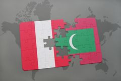 Puzzle with the national flag of peru and maldives on a world map Stock Images