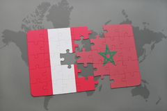 Puzzle with the national flag of peru and morocco on a world map. Background. 3D illustration stock images