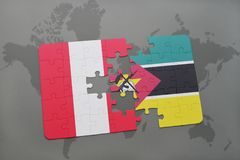 Puzzle with the national flag of peru and mozambique on a world map. Background. 3D illustration Stock Photo