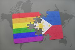 puzzle with the national flag of philippines and gay rainbow flag on a world map background. Stock Photos
