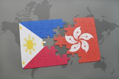 Puzzle with the national flag of philippines and hong kong on a world map background. 3D illustration Royalty Free Stock Photography