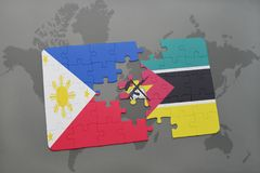 Puzzle with the national flag of philippines and mozambique on a world map Stock Images