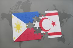 Puzzle with the national flag of philippines and northern cyprus on a world map background. Royalty Free Stock Photo