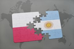 Puzzle with the national flag of poland and argentina on a world map background. 3D illustration Royalty Free Stock Photography