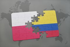 Puzzle with the national flag of poland and colombia on a world map background. 3D illustration Royalty Free Stock Photography