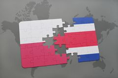 Puzzle with the national flag of poland and costa rica on a world map background. 3D illustration royalty free stock photos