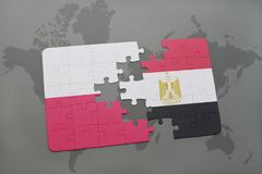 Puzzle with the national flag of poland and egypt on a world map background. 3D illustration Royalty Free Stock Photography