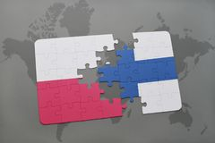 Puzzle with the national flag of poland and finland on a world map background. 3D illustration Stock Photography