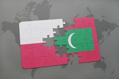 Puzzle with the national flag of poland and maldives on a world map background. 3D illustration. Puzzle with the national flag of poland and maldives on a world Stock Photography