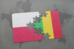 Puzzle with the national flag of poland and mali on a world map background. 3D illustration royalty free stock image