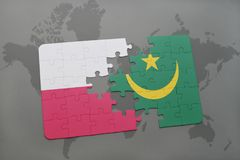 Puzzle with the national flag of poland and mauritania on a world map background. 3D illustration stock photography