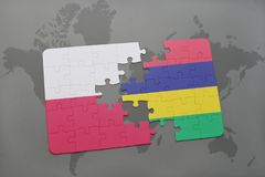 Puzzle with the national flag of poland and mauritius on a world map background. 3D illustration royalty free stock photos