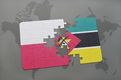 Puzzle with the national flag of poland and mozambique on a world map background. Stock Image