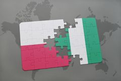 Puzzle with the national flag of poland and nigeria on a world map background. 3D illustration stock photo
