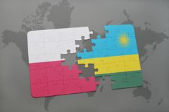 Puzzle with the national flag of poland and rwanda on a world map background. 3D illustration stock photography