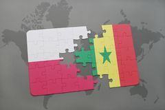 Puzzle with the national flag of poland and senegal on a world map background. 3D illustration royalty free stock images