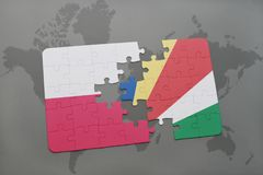 Puzzle with the national flag of poland and seychelles on a world map background. 3D illustration stock image