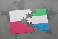 Puzzle with the national flag of poland and sierra leone on a world map background. 3D illustration royalty free stock images