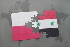 Puzzle with the national flag of poland and syria on a world map background. 3D illustration Royalty Free Stock Images