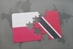 Puzzle with the national flag of poland and trinidad and tobago on a world map background. 3D illustration. Puzzle with the national flag of poland and trinidad Royalty Free Stock Photography