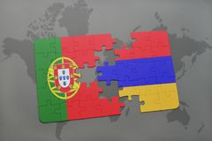 Puzzle with the national flag of portugal and armenia on a world map background. Stock Photography
