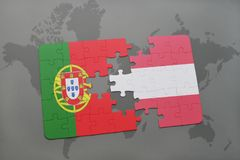 Puzzle with the national flag of portugal and austria on a world map background. 3D illustration Stock Photo