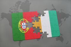 Puzzle with the national flag of portugal and cote divoire on a world map background. 3D illustration Royalty Free Stock Photo