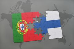 Puzzle with the national flag of portugal and finland on a world map background. 3D illustration Stock Photography