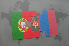 puzzle with the national flag of portugal and mongolia on a world map background. Royalty Free Stock Photos
