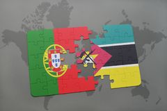 Puzzle with the national flag of portugal and mozambique on a world map background. 3D illustration Stock Photography