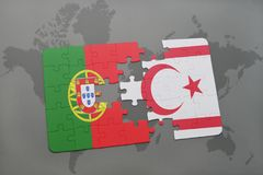 Puzzle with the national flag of portugal and northern cyprus on a world map background. 3D illustration Royalty Free Stock Image