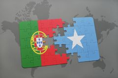 Puzzle with the national flag of portugal and somalia on a world map background. 3D illustration royalty free stock images